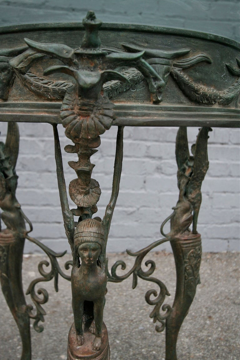 19th Century Imperial Bronze Side or Centre Table with Glass Top In Good Condition For Sale In Los Angeles, CA