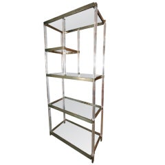 1970s Brass and Lucite Etagere Bookcase by Charles Hollis Jones