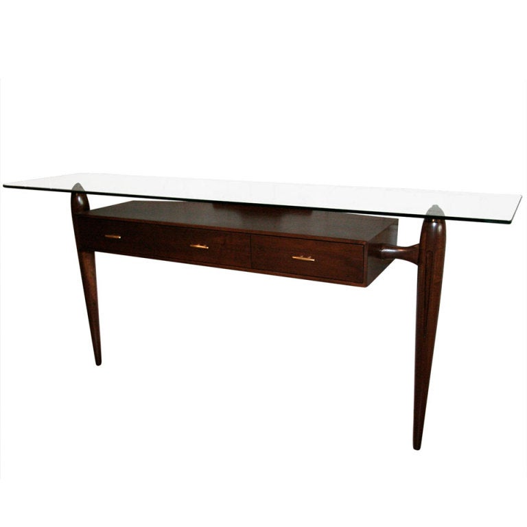 1960s Scapinelli Brazilian Console Table with Three Drawers