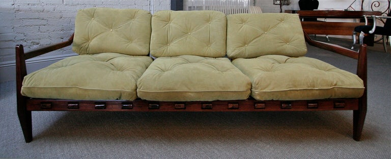 Jean Gillon 1960s Brazilian Jacaranda Wood Three-Seat Sofa in Sage Green Suede In Good Condition For Sale In Los Angeles, CA