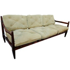 Jean Gillon 1960s Brazilian Jacaranda Three-Seat Sofa
