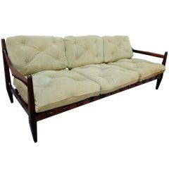 Jean Gillon 1960s Brazilian Jacaranda Three-Seat Sofa
