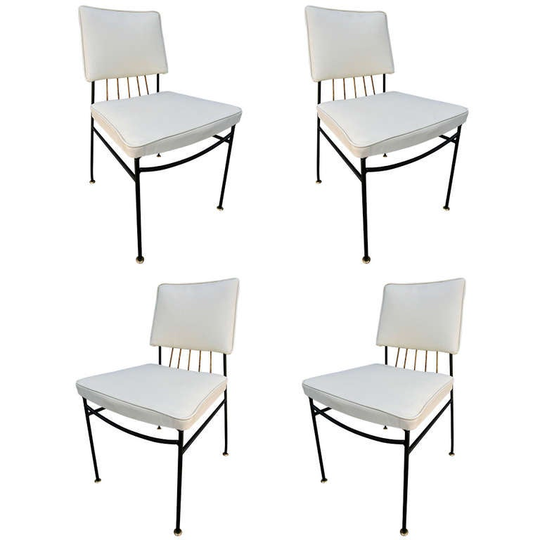 Set Of Metal Dining Chairs By Arturo Pani With Brass Details For Sale At 1stdibs
