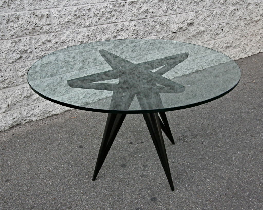 Mid-Century Modern Custom Star Leg Glass Top Ebonized Round Dining Table for Four by Adesso Imports For Sale