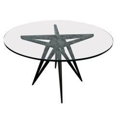 Custom Star Leg Glass Top Ebonized Round Dining Table for Four