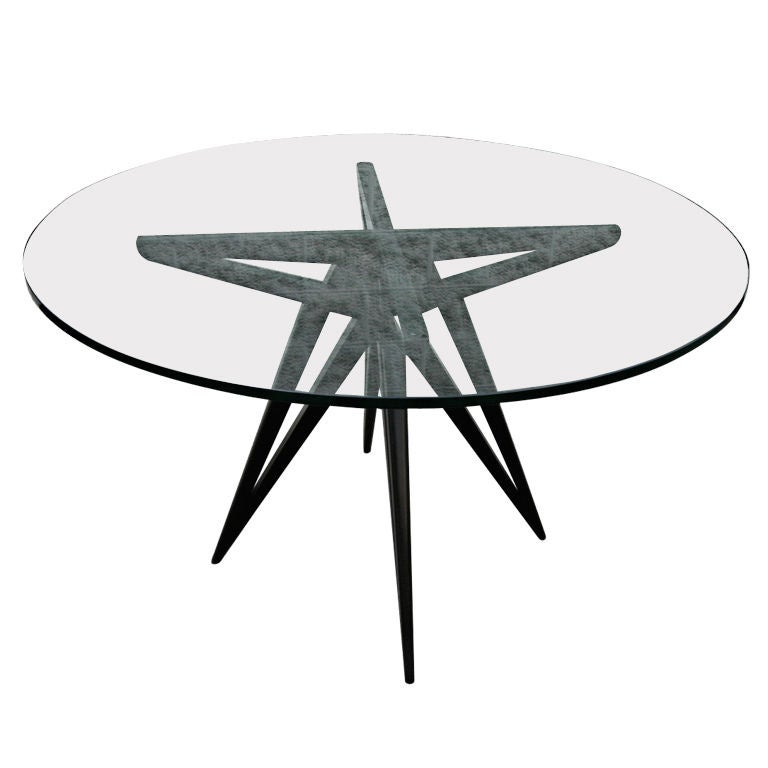 Custom Star Leg Glass Top Ebonized Round Dining Table for Four