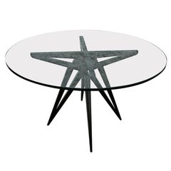 Custom Star Leg Glass Top Ebonized Round Dining Table for Four by Adesso Imports