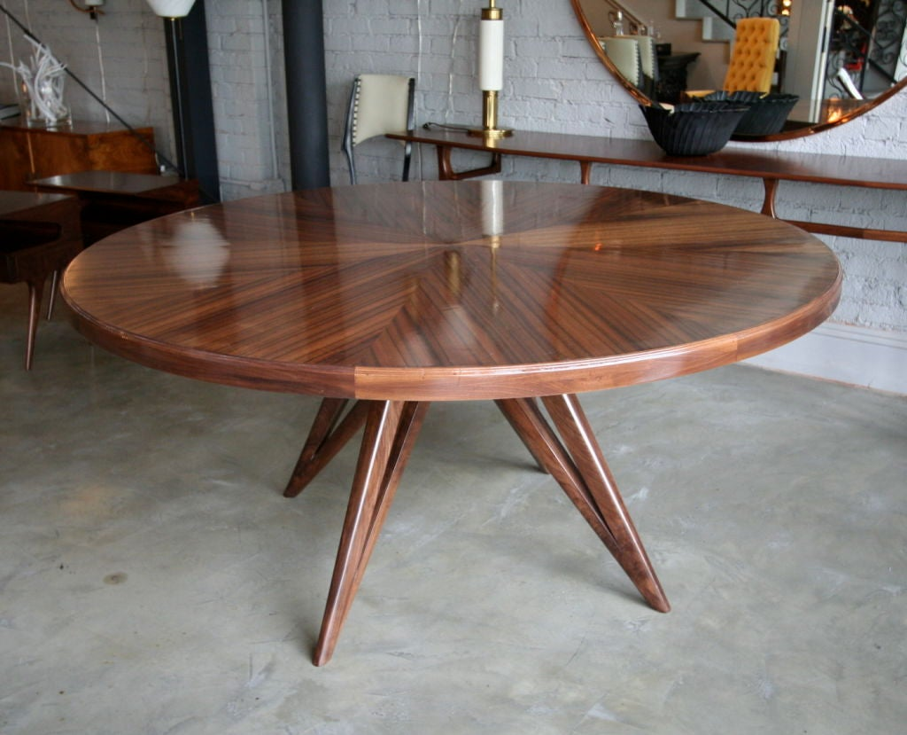 Star Furniture Dining Table: Custom Star Leg Round Wood Dining Table For Eight For Sale