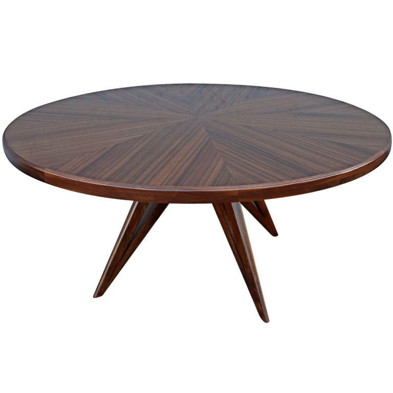 custom star leg round wood dining table for eight for sale at 1stdibs