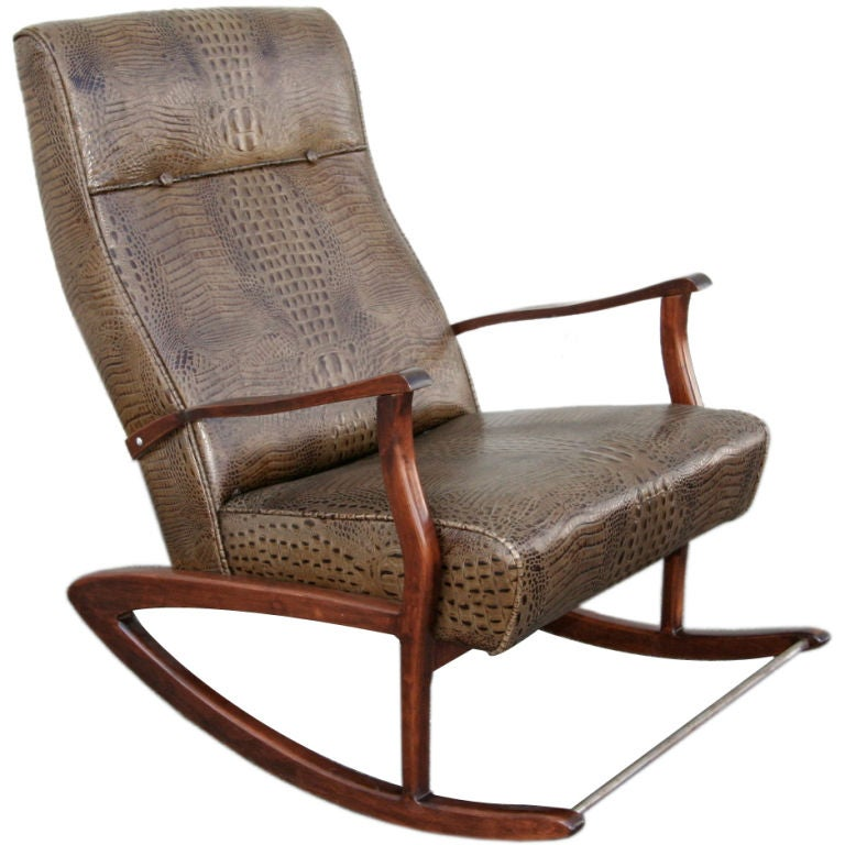 1960s Brazilian Rocking Chair In Crocodile Embossed Leather 1