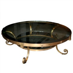 50's Spectacular Brass Round Coffee Table