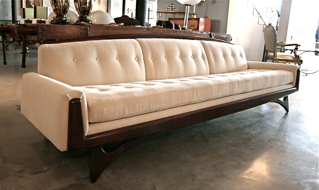 Mid-Century Modern 1970s Mohair Sofa Attributed to Adrian Pearsall