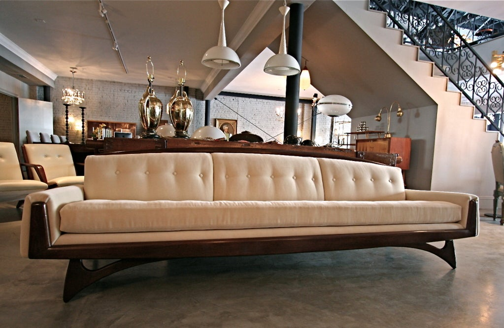 American 1970s Mohair Sofa Attributed to Adrian Pearsall