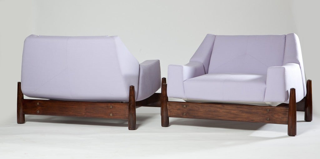 Pair of 1960s Percival Lafer Brazilian imbuia wood club chairs upholstered in lilac muslin.