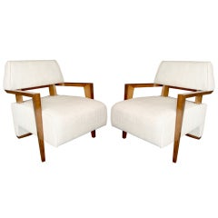Pair of 1950s Art Deco French Armchairs