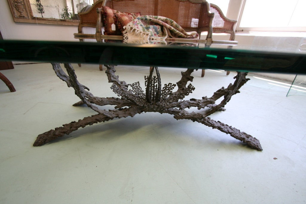 1960s Brutalist Bronze and Glass Coffee Table by Daniel Gluck 3