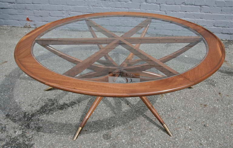 Mid-Century Modern Custom Spider Leg Round Coffee Table with Glass Top For Sale
