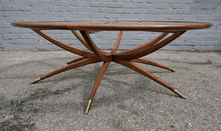 American Custom Spider Leg Round Coffee Table with Glass Top For Sale