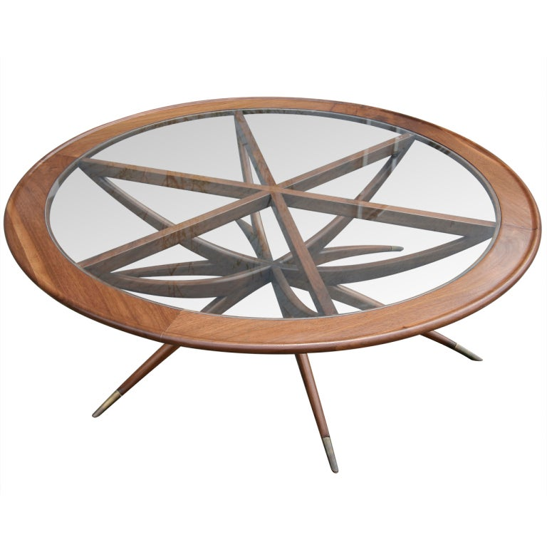 Custom Spider Leg Round Coffee Table with Glass Top For Sale