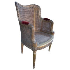 19th Century French Double Caning Gilded Chair