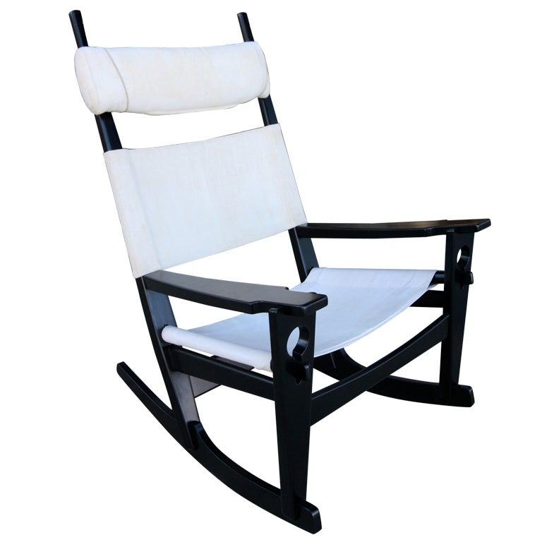 "1960s Hans Wegner ""Keyhole"" Rocking Chair"