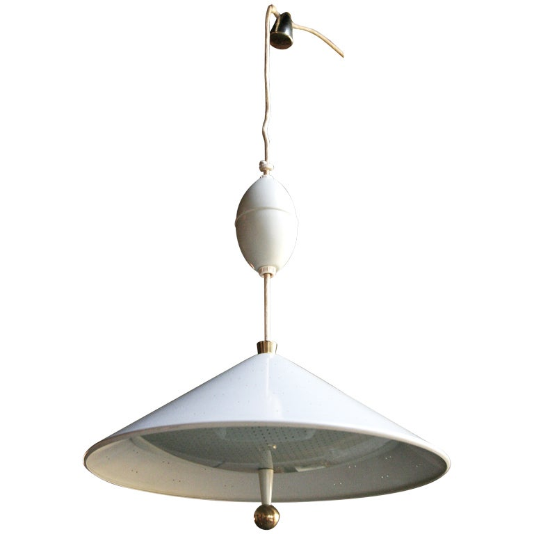 Lightolier 1970s Metal and Glass Hanging Lamp on Track
