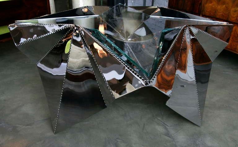 American Star-shaped Metal And Glass Coffee Table For Sale