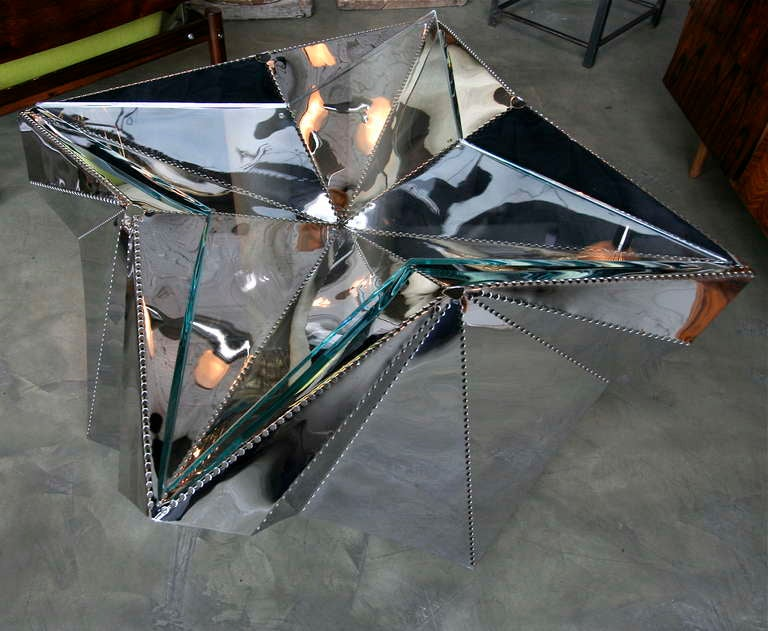 Star-shaped Metal And Glass Coffee Table In Excellent Condition For Sale In Los Angeles, CA