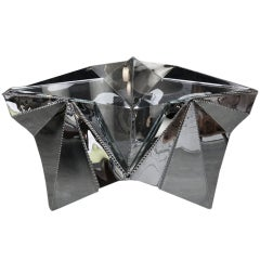 Star-shaped Metal And Glass Coffee Table