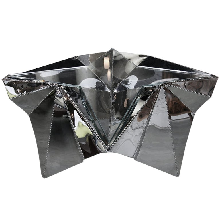 Star-shaped Metal And Glass Coffee Table For Sale