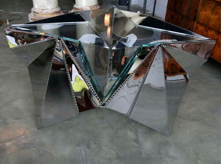 Beautifully handmade star-shaped coffee table by Ziv Mayer.  One of a kind, made of perforated steel with glass top.