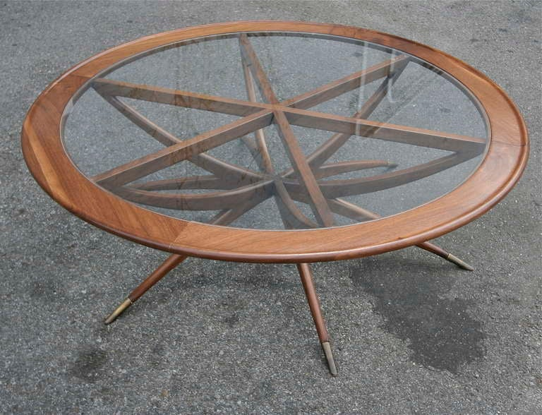 Custom Spider Leg Round Coffee Table with Glass Top In Excellent Condition For Sale In Los Angeles, CA