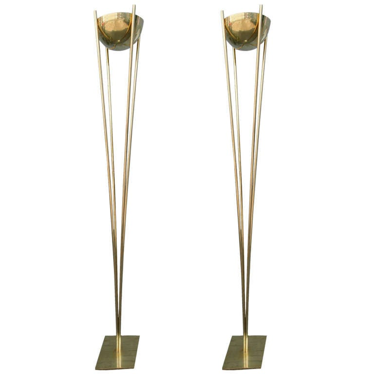 Pair of 1970s Brass Torcheres