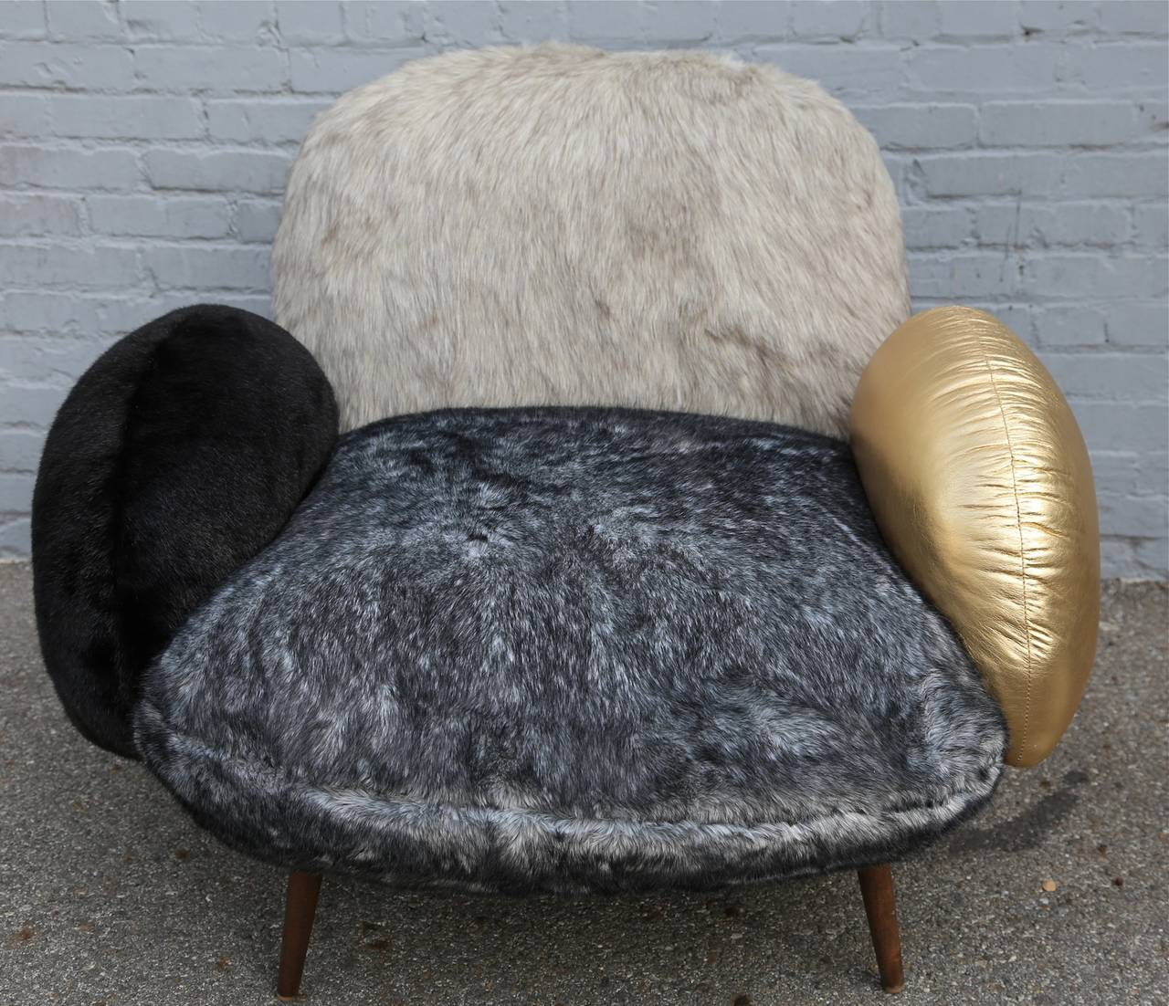 Custom Faux Fur and Leather Lounge Chair 2