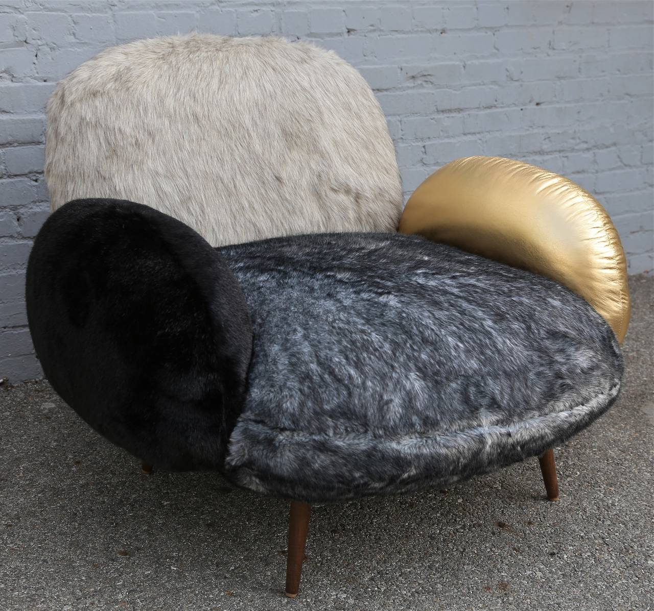Custom Faux Fur and Leather Lounge Chair 4