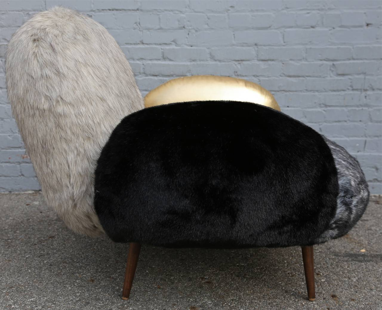 Custom Faux Fur and Leather Lounge Chair 3