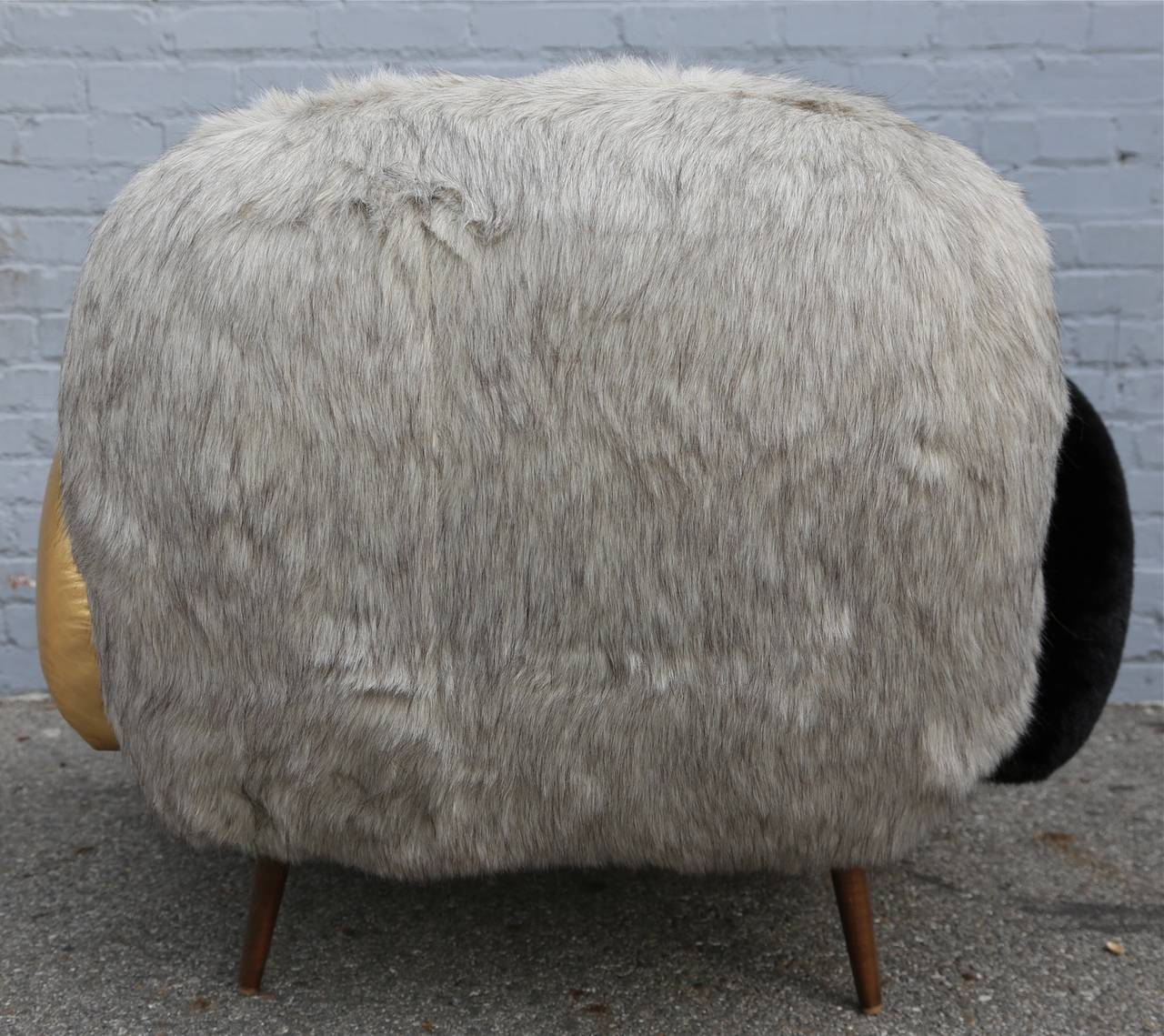 Custom Faux Fur and Leather Lounge Chair 5