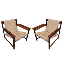 Pair of 1960s Sergio Rodrigues Brazilian Jacaranda Lia Chairs
