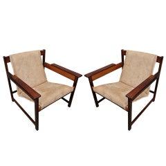 Pair of 1960s Sergio Rodrigues Brazilian Jacaranda Lia Chairs