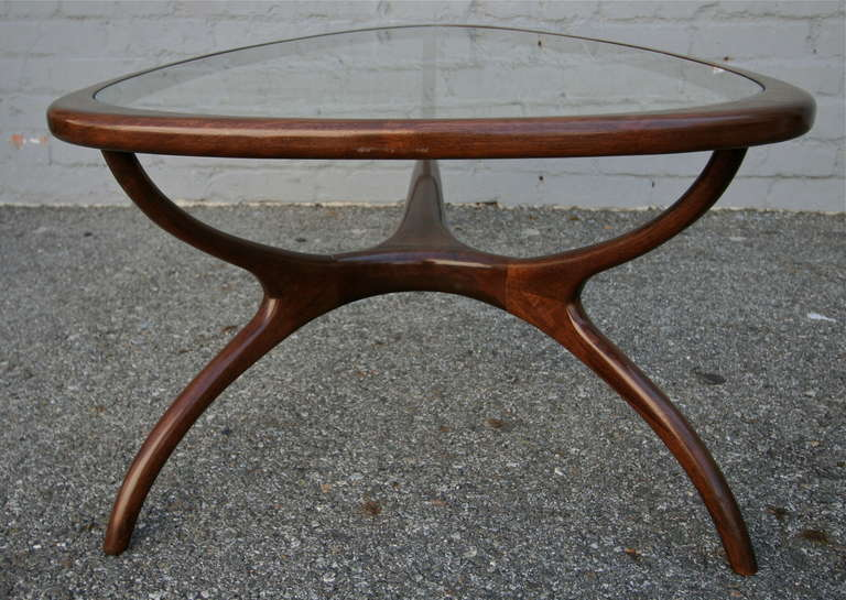 1960s Brazilian Coffee Table with Glass Top For Sale 1