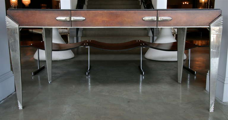 German 1930s Art Deco Metal and Leather Console Table or Desk For Sale