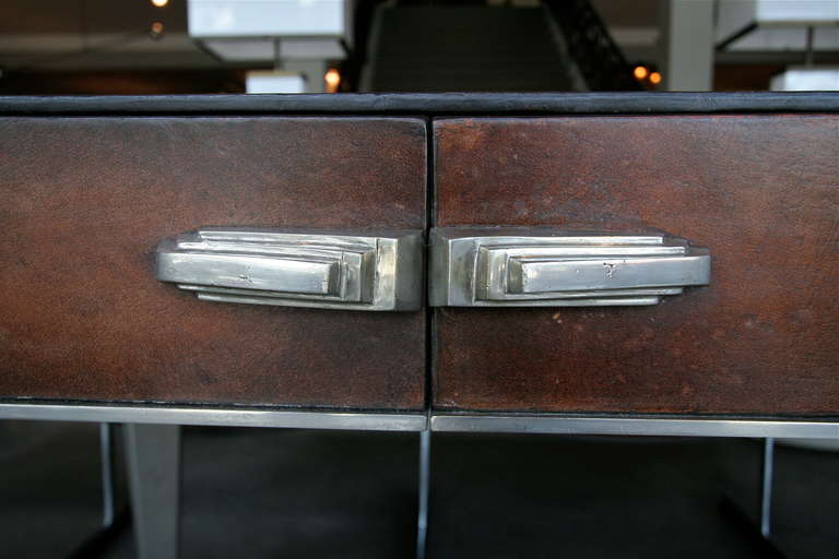 Mid-20th Century 1930s Art Deco Metal and Leather Console Table or Desk For Sale