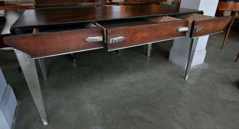 1930s Art Deco Metal and Leather Console Table or Desk For Sale 1