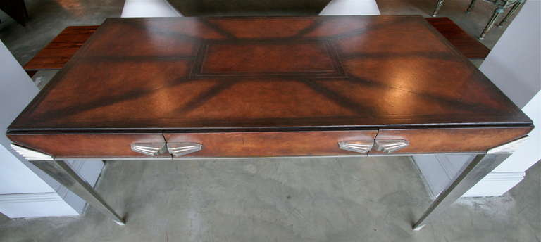 1930s Art Deco Metal and Leather Console Table or Desk For Sale 2