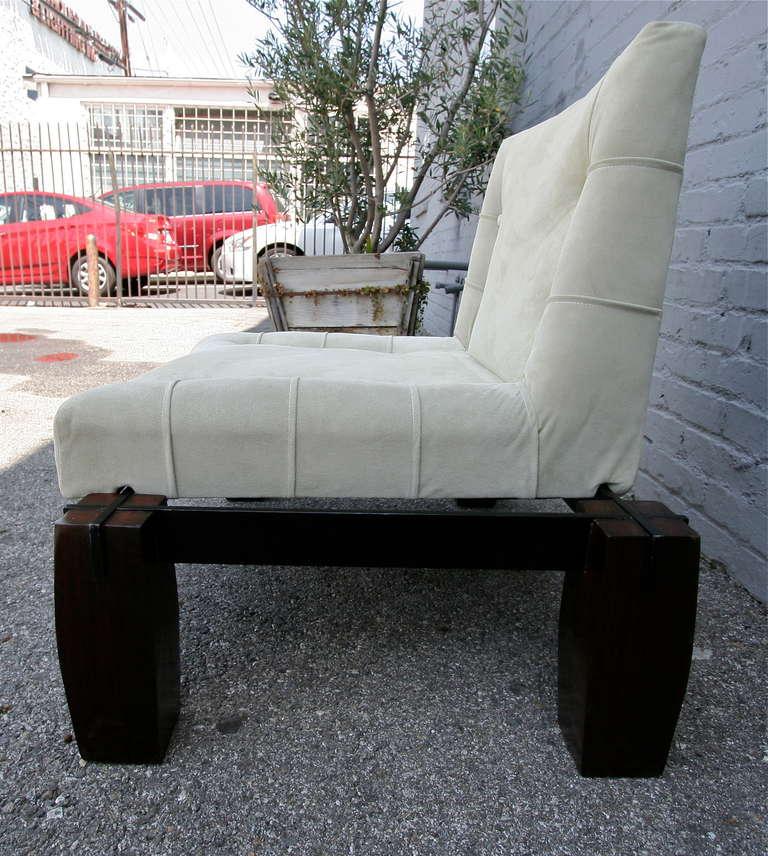 Mid-20th Century Jorge Zalszupin 1960s Brazilian Jacaranda Wood Lounge Chair in Beige Suede For Sale