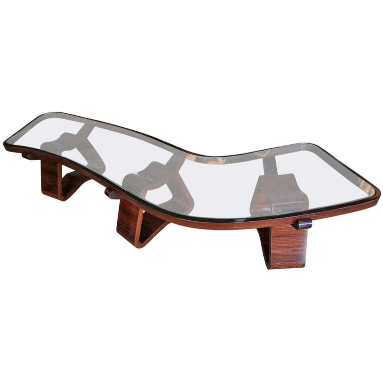 Curved Coffee Table by Joaquim Tenreiro at 1stdibs