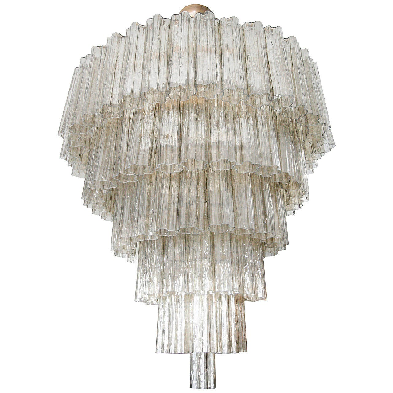 Tiered 1970s Smoked Glass Murano Chandelier For Sale at