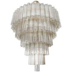 Tiered 1970s Smoked Glass Murano Chandelier