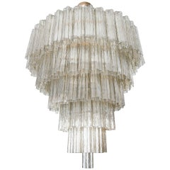Tiered 1970s Smoked Glass Murano Chandelier