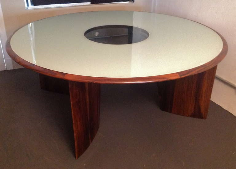 Glass 1960s Brazilian Jacaranda Round Dining Table for Eight For Sale